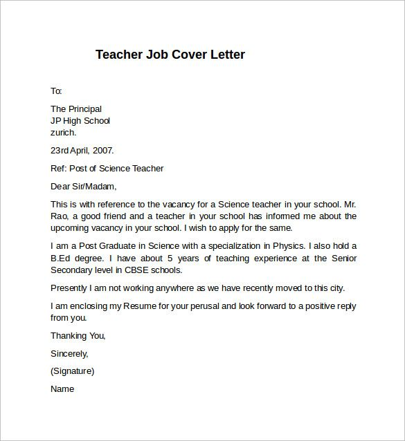 Cover Letter Example Teacher Job For Jesse Kendal And Very Best
