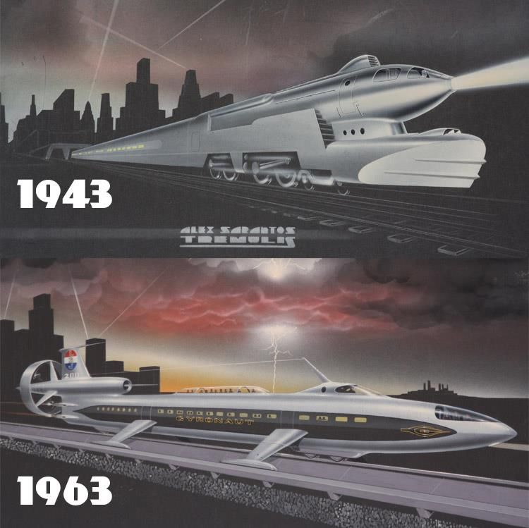 1943/1963: Alex Tremulis' Gyronaut LBJ200 was to be a high-speed intercity transport with a cruising speed of 200 miles per hour. Twenty years prior, Tremulis' 1943 locomotive streamliner was similarly predicting the future. In 1964, it would be the Gyronaut X-1 that would be realized from Tremulis' dreams of yesterday's tomorrows... - https://www.facebook.com/photo.php?fbid=548272195262092&set=a.263382227084425.62408.247439348678713&type=1&theater