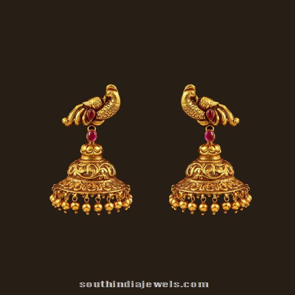 Gold Antique Peacock Jhumka | Simple gold/diamond earrings designs ...