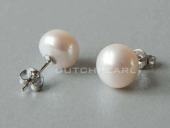10mm Real Pearl Earrings Studs Freshwater By Dutchpearl
