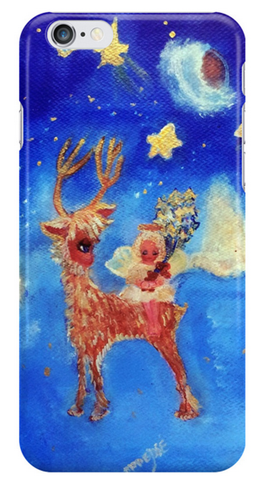 New! Stunning iPhone Case Covers - Top Picks designed by artist and designer Marie-Jose Pappas of Innocent Originals. Little Angel on the Reindeer Designer Art Gifts.