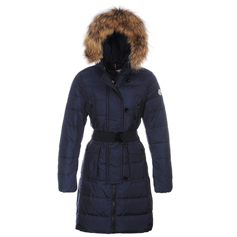 New Moncler Genevrier Women Coats Hooded Long Dark Blue - :