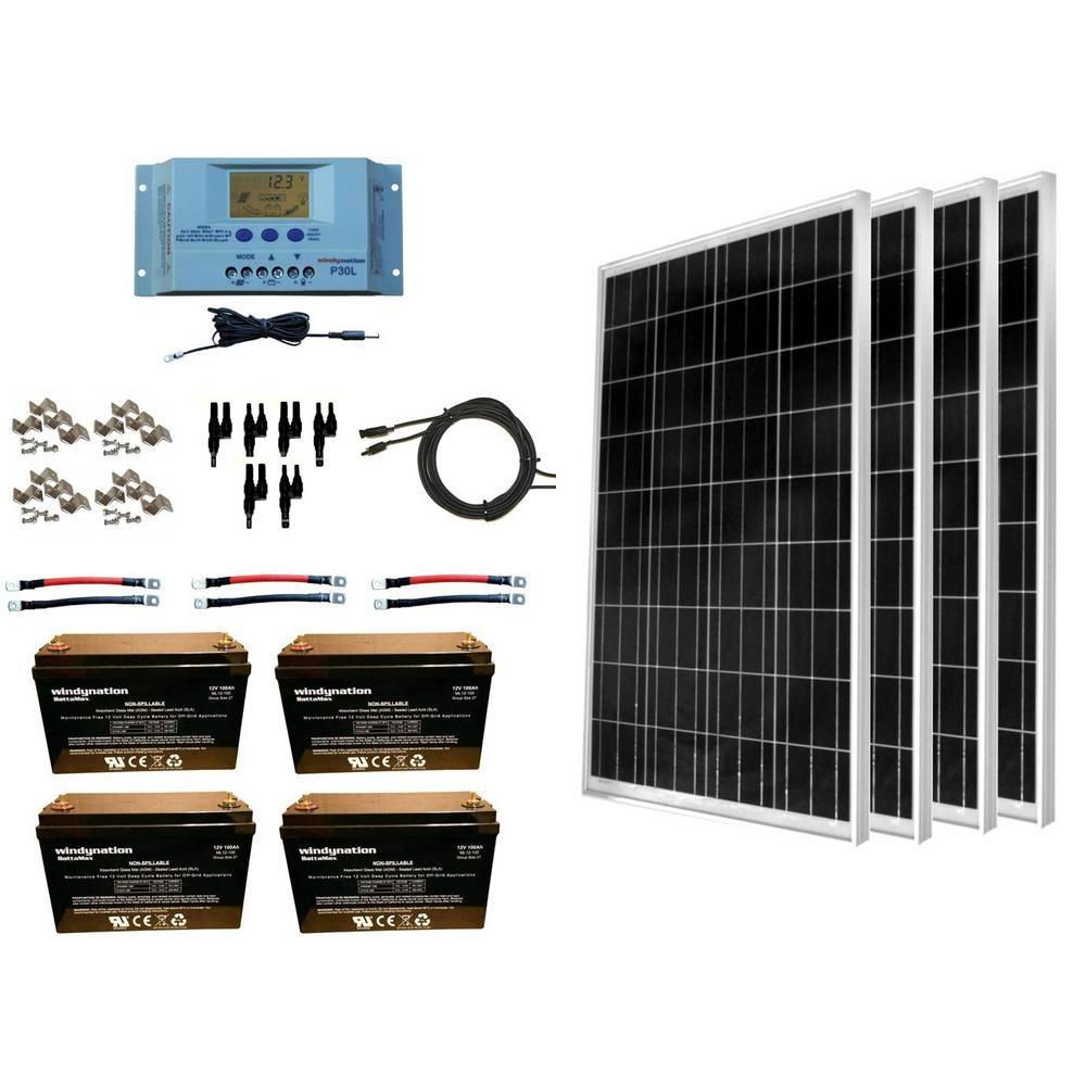 Windynation 400 Watt Off Grid Polycrystalline Solar Panel Kit With 12 Volt Agm Deep Cycle Battery Sok 400wp P30l 400b The Home Depot Solar Panel Kits Solar Kit Rv Solar Panels