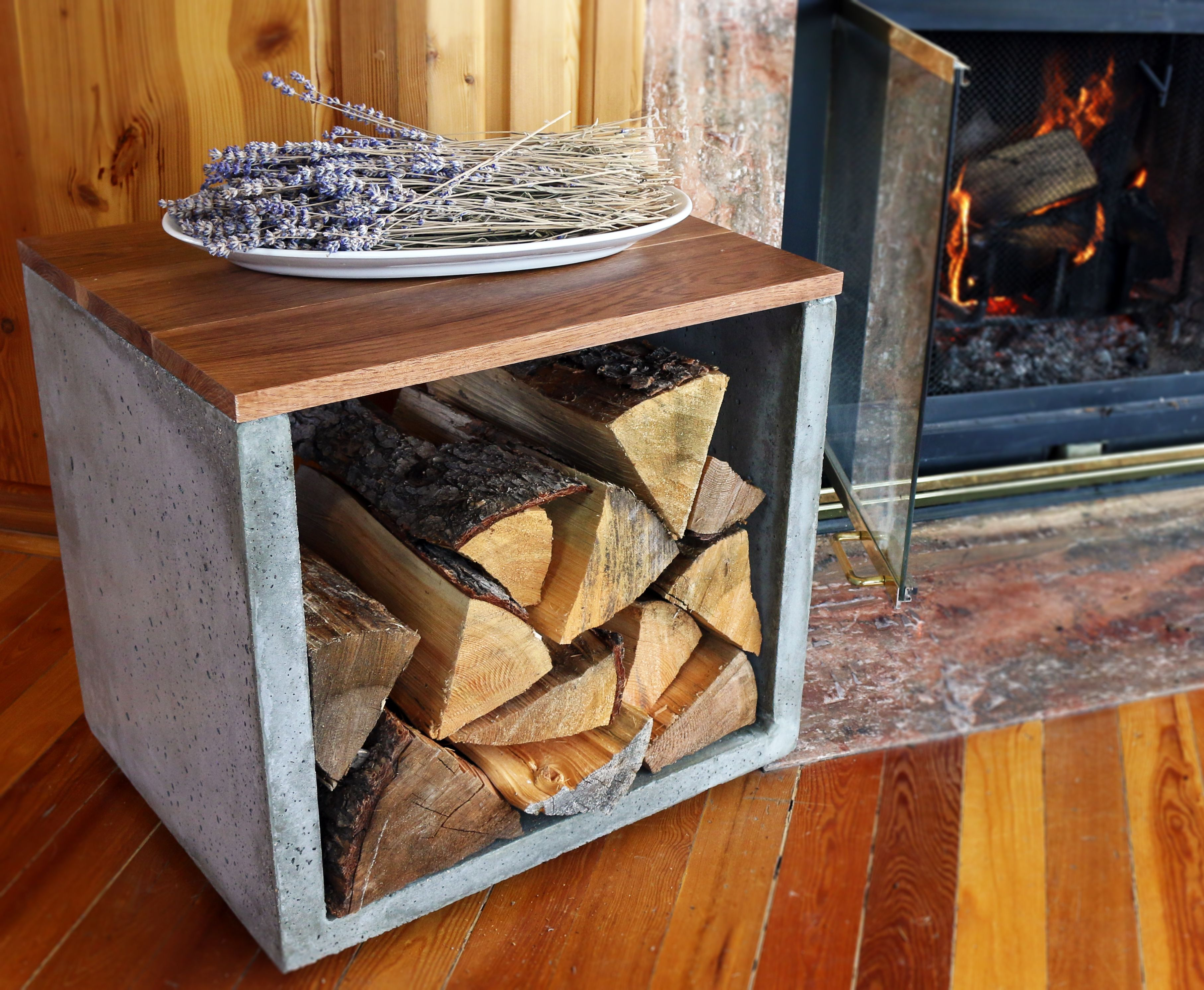 Concrete woodworking firewood firewood holder log holder concrete log holder modern concrete interior design fireplace