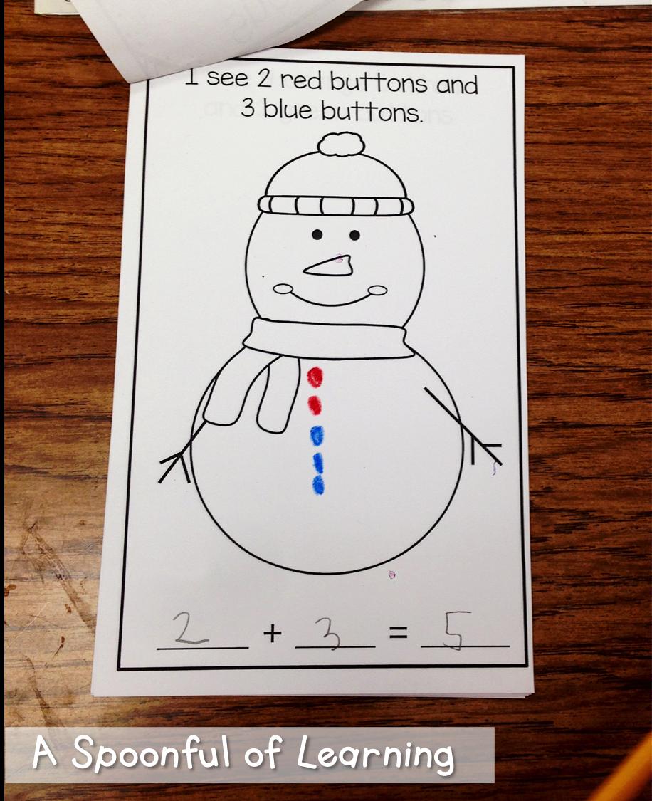 A Spoonful Of Learning Snowman Fun First Grade Math Worksheets Winter Kindergarten Educational Activities For Preschoolers [ 1125 x 916 Pixel ]