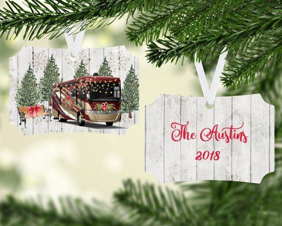 Motor Home RV Personalized Christmas Tree Ornament