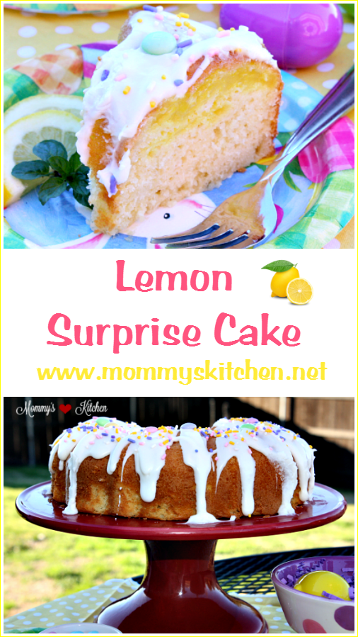Lemon Surprise Bundt Cake by Mommy's Kitchen! A semi-homemade French Vanilla Bundt Cake with a lemon fruit filling surprise inside.  @luckyleaf  #mommyskitchen #LuckyLeaf  #Easter #baking #spring #dessert
