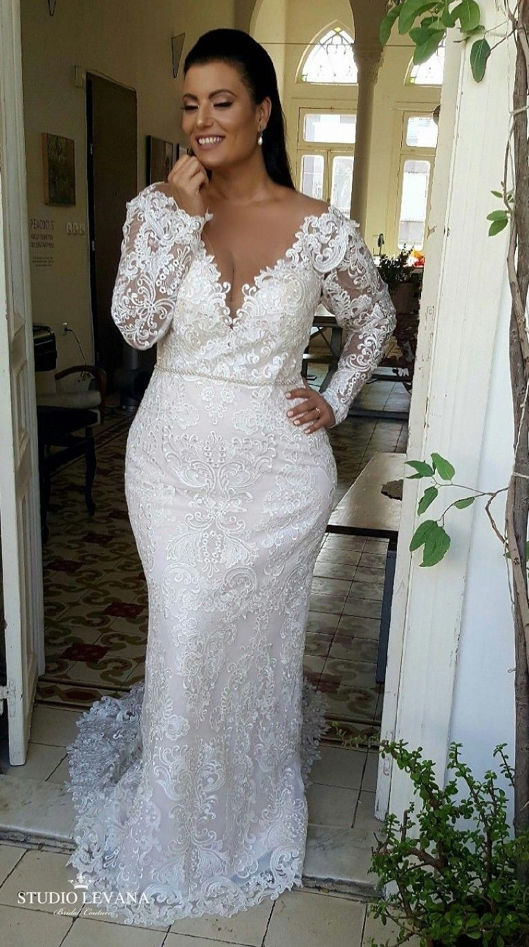 Plus Size Mermaid Full Lace Wedding Gown With Deep V And Long Sleeves Adel St Plus Wedding Dresses Plus Size Wedding Dresses With Sleeves Wedding Dress Guide