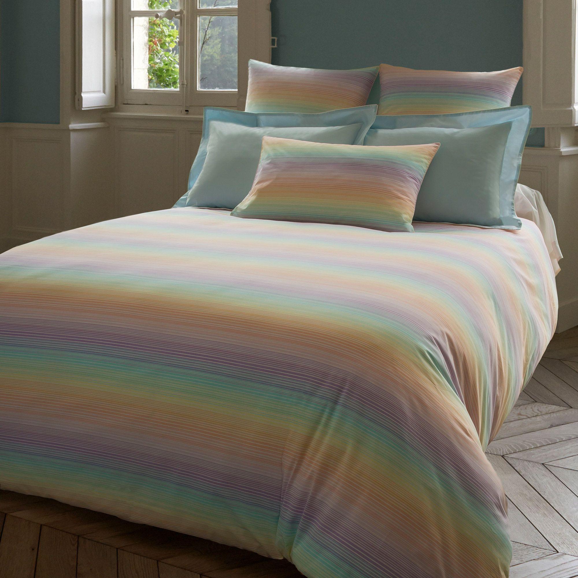 Housse De Couette Reversible 100 Percale De Coton Rayures Multicolores Sirene Descamps Port Offert Housse De Couette Couette Housses