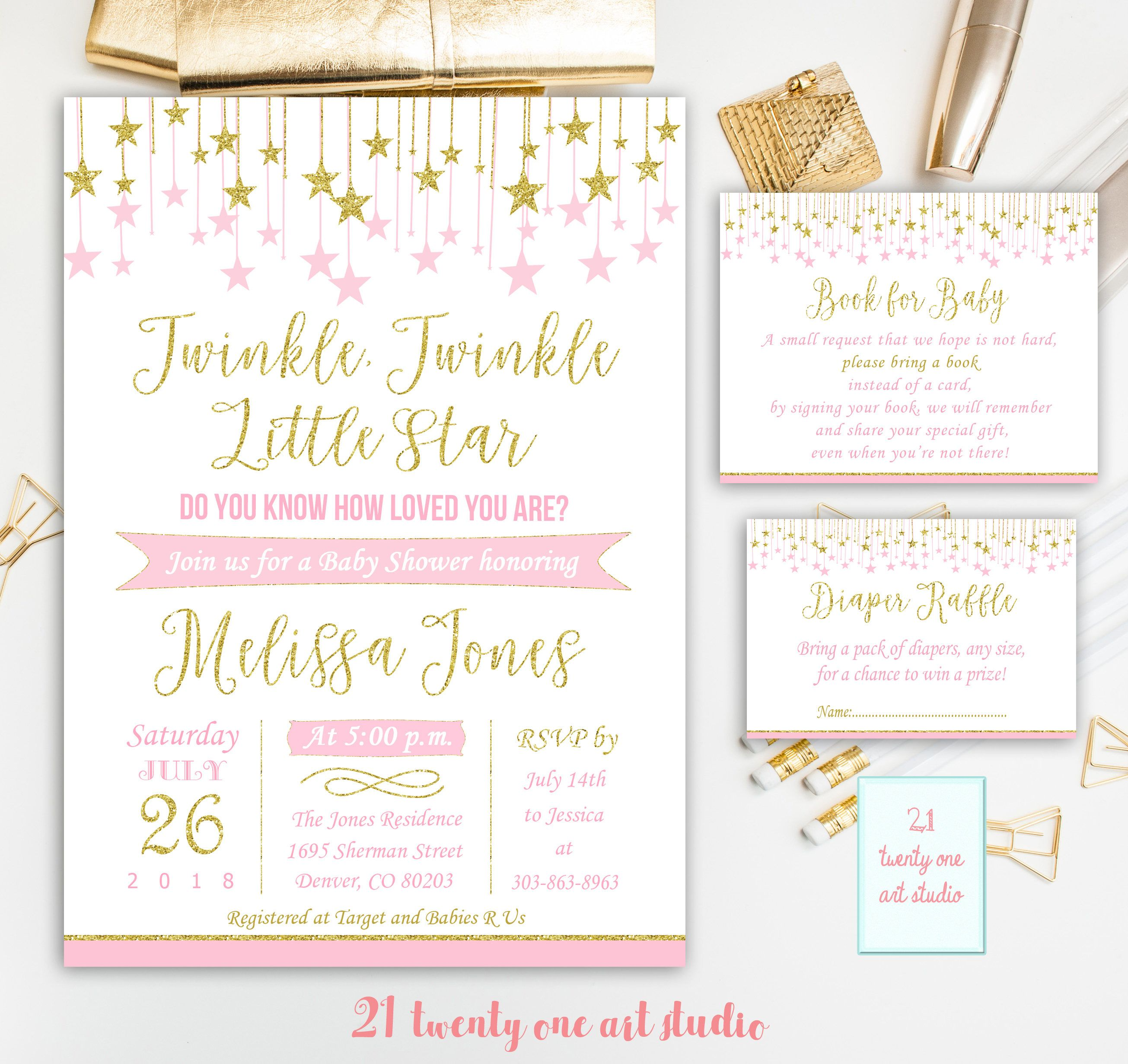 Twinkle Twinkle Little Star Baby Shower Invitation, + Book for ...