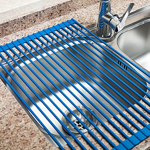 VECELO Over The Sink Roll Up Dish Drying Rack/ Mat, Kitch.