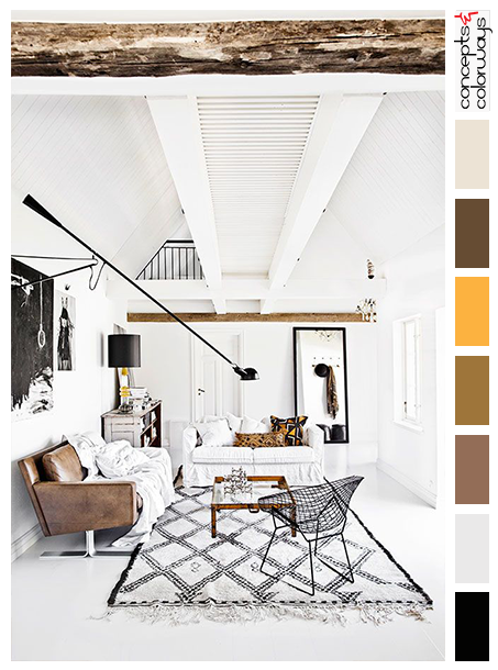White Interior Color Palette With Warm Toned Accents, Bright Yellow, Warm  Brown, Purplish Brown, Cool White, Exposed Rustic Wood Beams, Black Accents