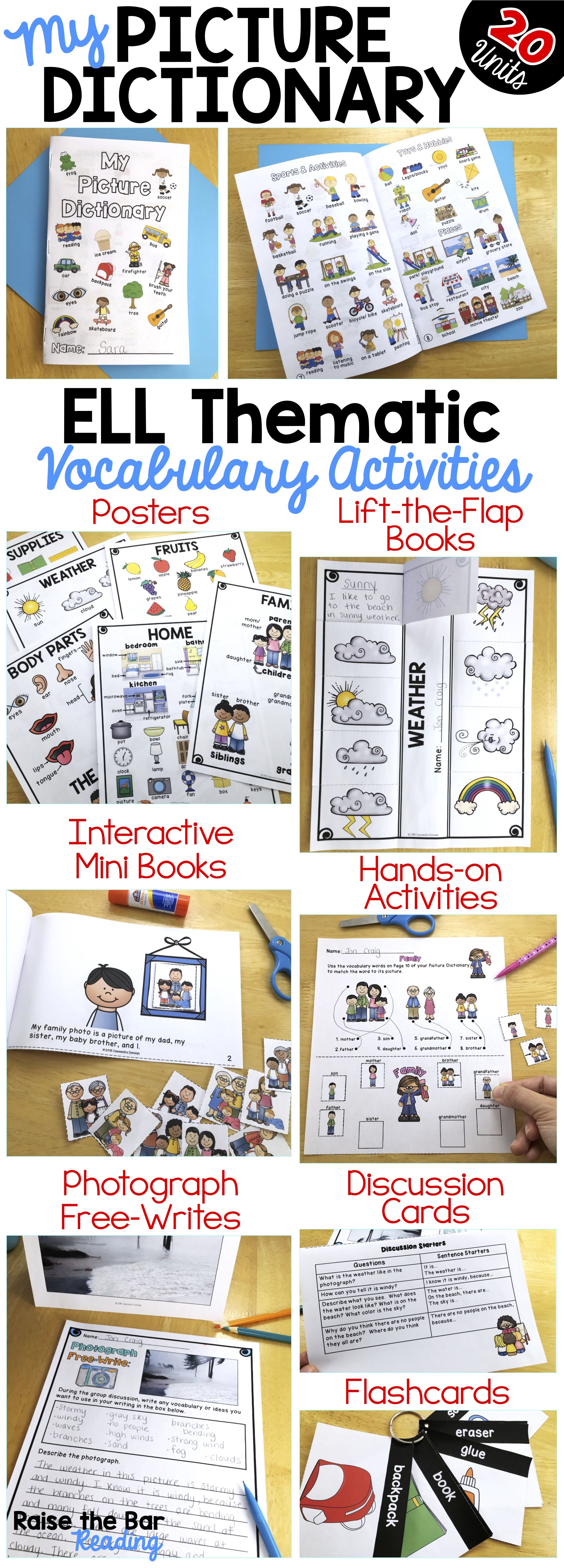 My Picture Dictionary And Beginning Ell Vocabulary Activities The Bundle