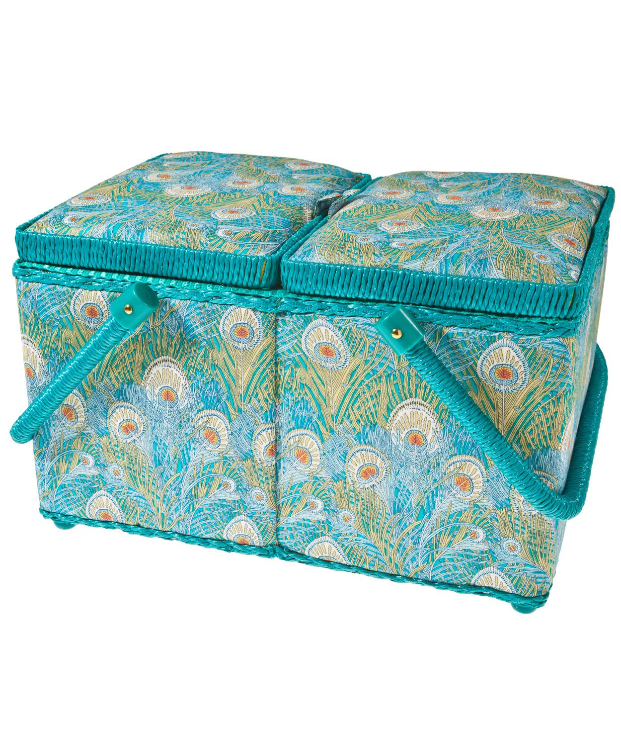Hera Print Sewing Box, Liberty Print. Elegant sewing box made from Hera Liberty print. Featuring twin lids, two carry handles, removable tray to store smaller items, turquoise trim and handles, a pin cushion and two pockets inside the lid for extra storage.