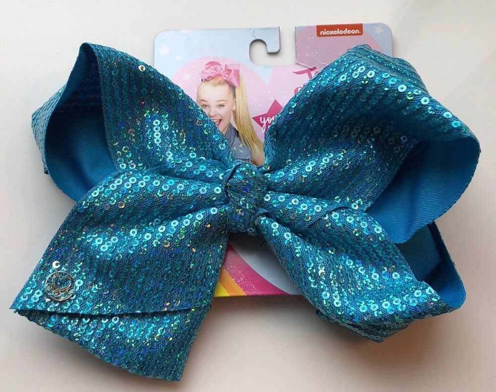 Jojo siwa turquoise blue sequin large signature hair bow cheer dance