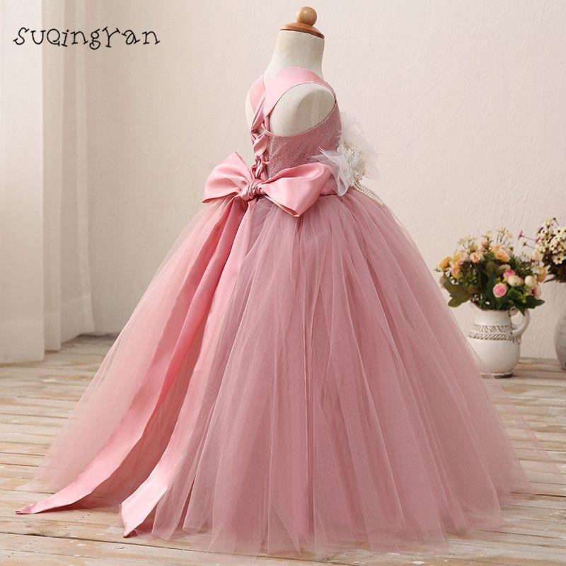 Real Photo Blush Rosa vestidos de Niña de las Flores Vestido de ...