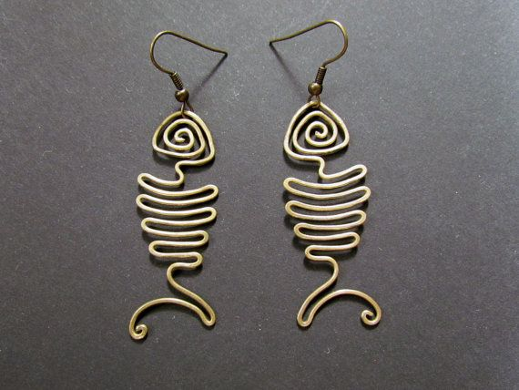 Photo of Items similar to Fishbone, Wire Wrapped Brass Earrings on Etsy