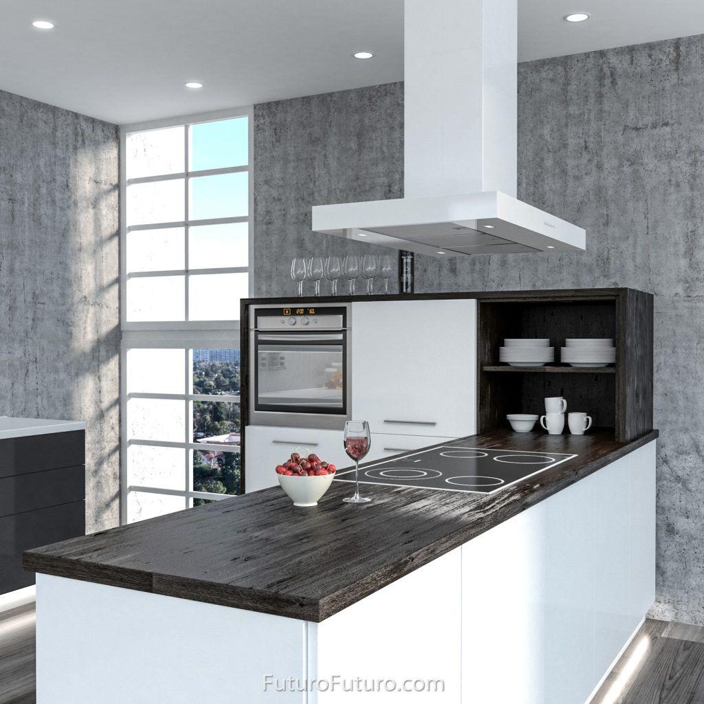 Clean Simple Rectangular Shape Semi Gloss White Enamel Over A Stainless Steel Body Height Adjustable Chimney Island Range Hood Range Hood Kitchen Range Hood