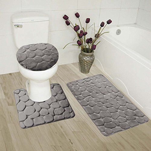 Gorgeoushome 3pc Grey Rock Design Embossed Bathroom Set Bath Mat Contour Rug And Lid Cover With Rubber Backing
