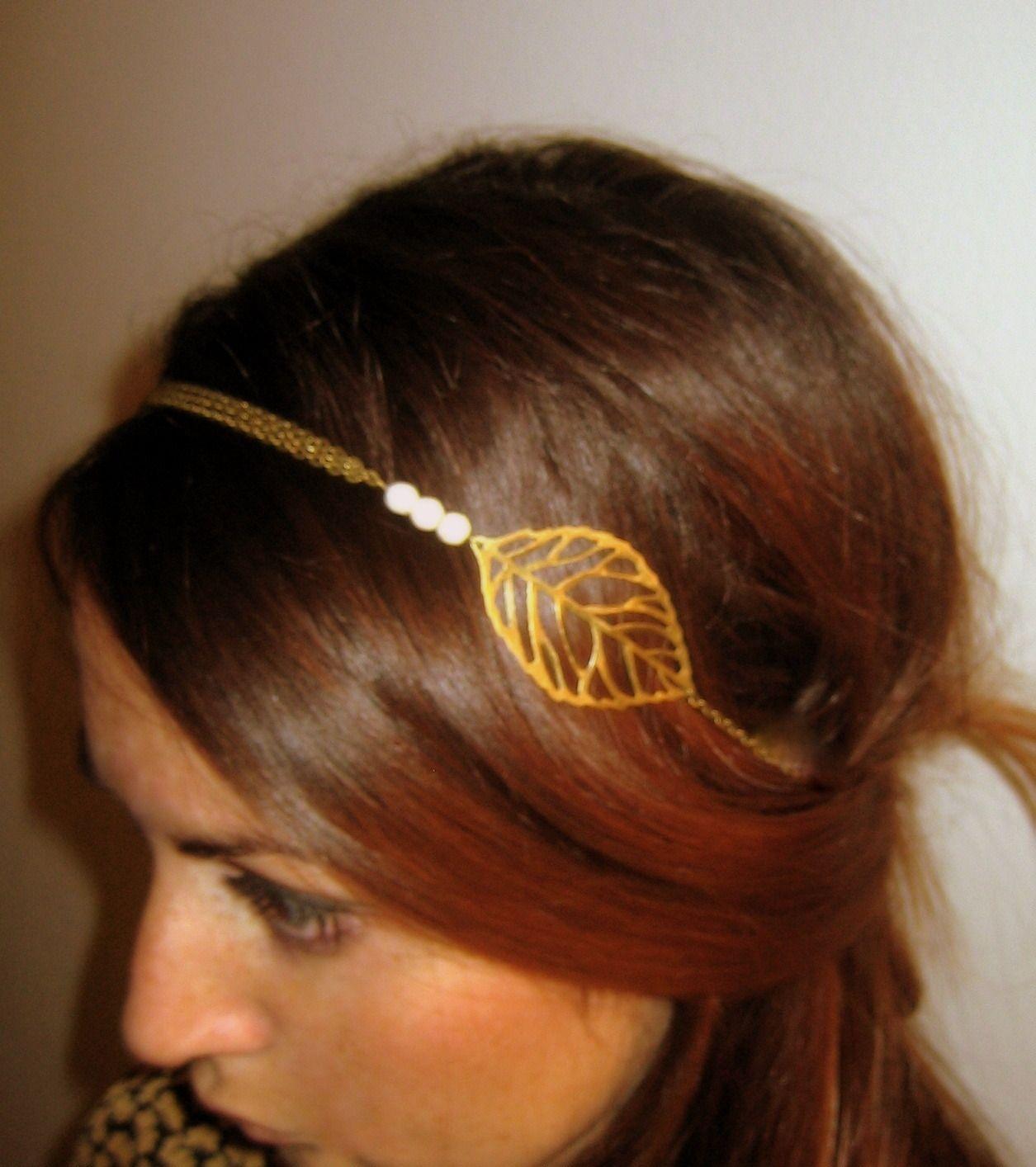 headband luce boh me bronze et blanc en perles chaine et feuille accessoires coiffure par l. Black Bedroom Furniture Sets. Home Design Ideas