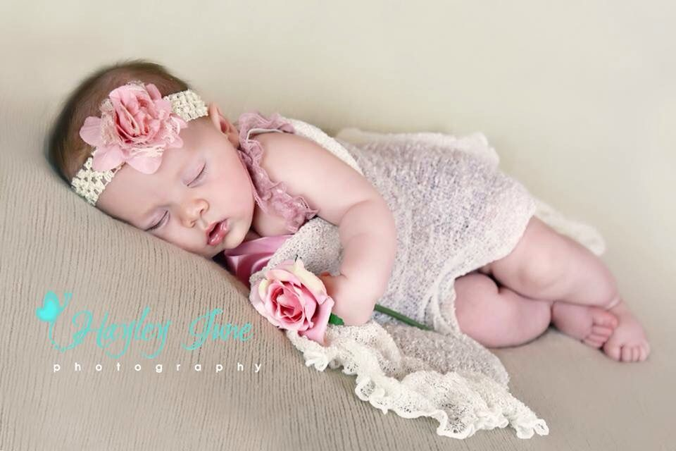 Calgary baby newborn photography baby girl 2 month pictures pink and cream newborn photo props