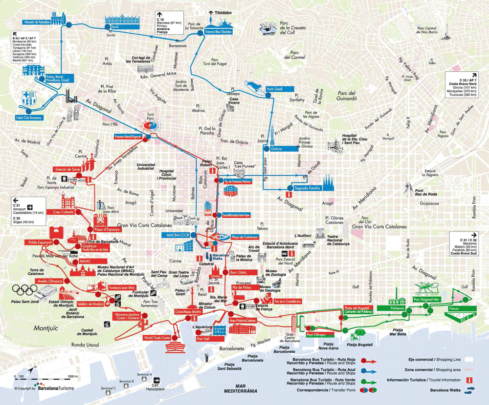 ROUTE MAP of the Barcelona Bus ONandOFF sightseeing routes – Barcelona City Map Tourist