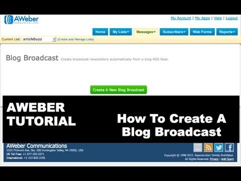 Aweber Tutorial: How To Create A Blog Broadcast Newsletter