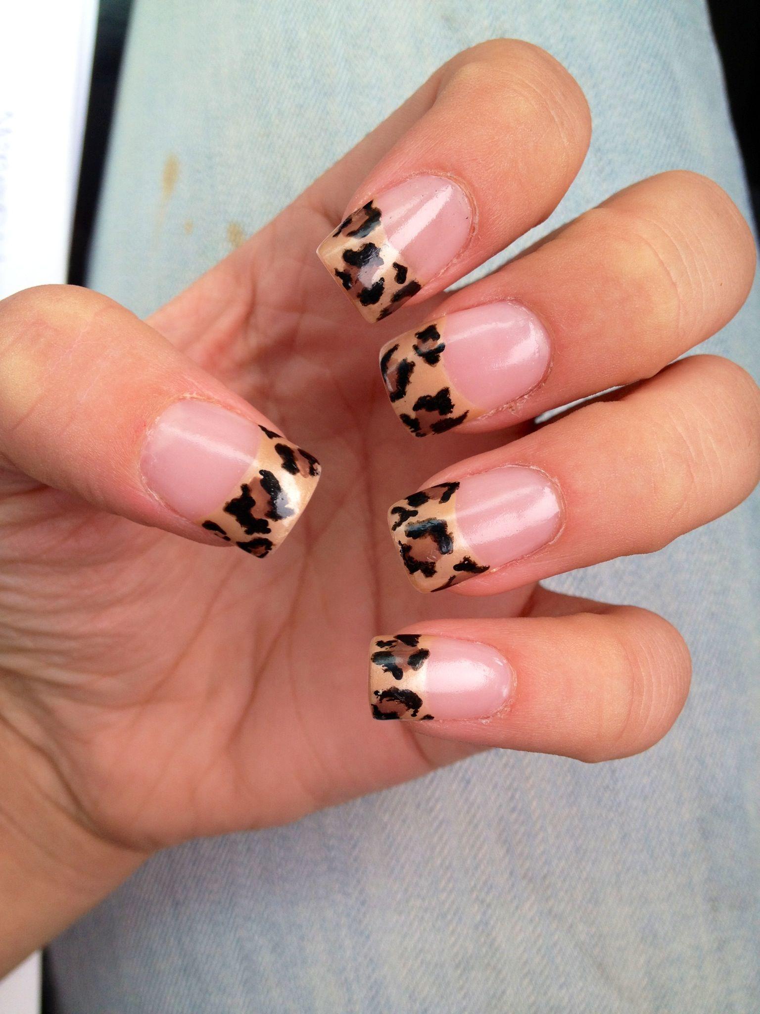 leopard print nail tips. acrylic