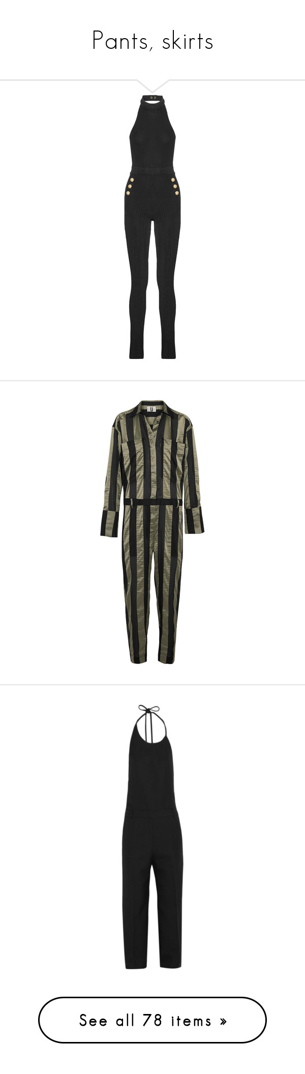"""""""Pants, skirts"""" by bliznec ❤ liked on Polyvore featuring jumpsuits, army green jumpsuit, olive jumpsuit, striped jumpsuit, satin jumpsuit, jump suit, topshop unique, halterneck jumpsuit, halter jumpsuit and halter tops"""