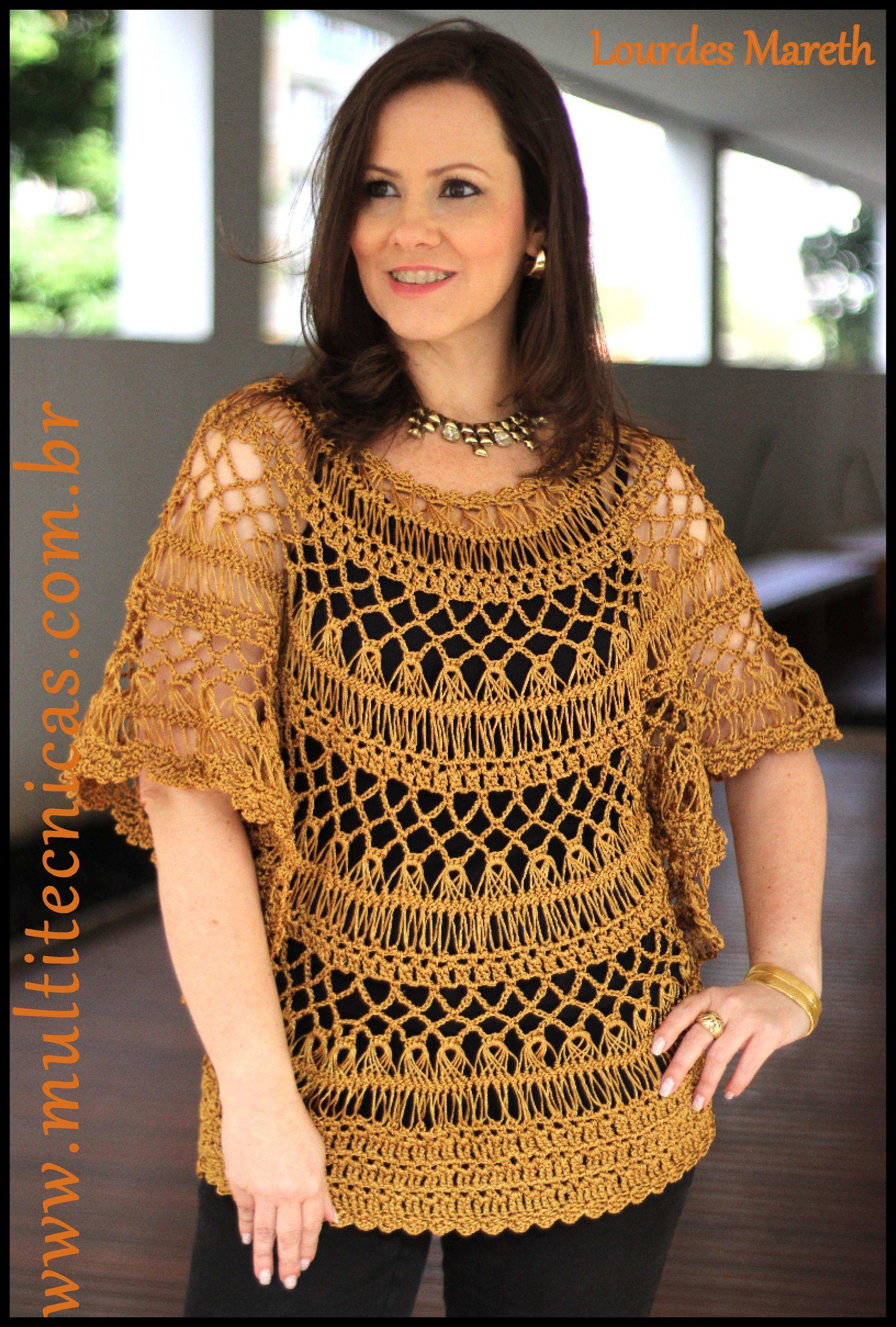 Blusa dourada em crochê de grampo Hairpin lace/ Horquilla www ...