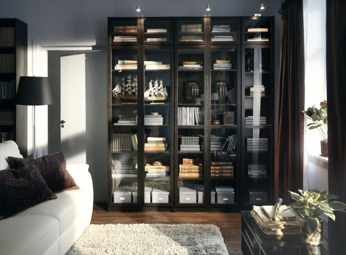 Living Room Ideas Conceal Your Precious Treasures Behind Glass In A BILLY Bookcase