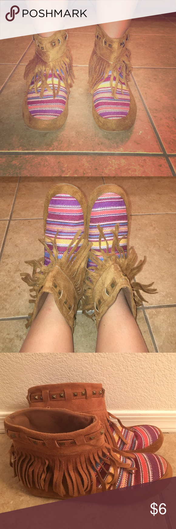 Hippie bootie slippers ✌🏼️ Super cute comfy bootie slippers w/ tassels. Barely worn! In great shape. Could be worn out or in the house on a lazy Sunday 🌞 Claire's Shoes Ankle Boots & Booties