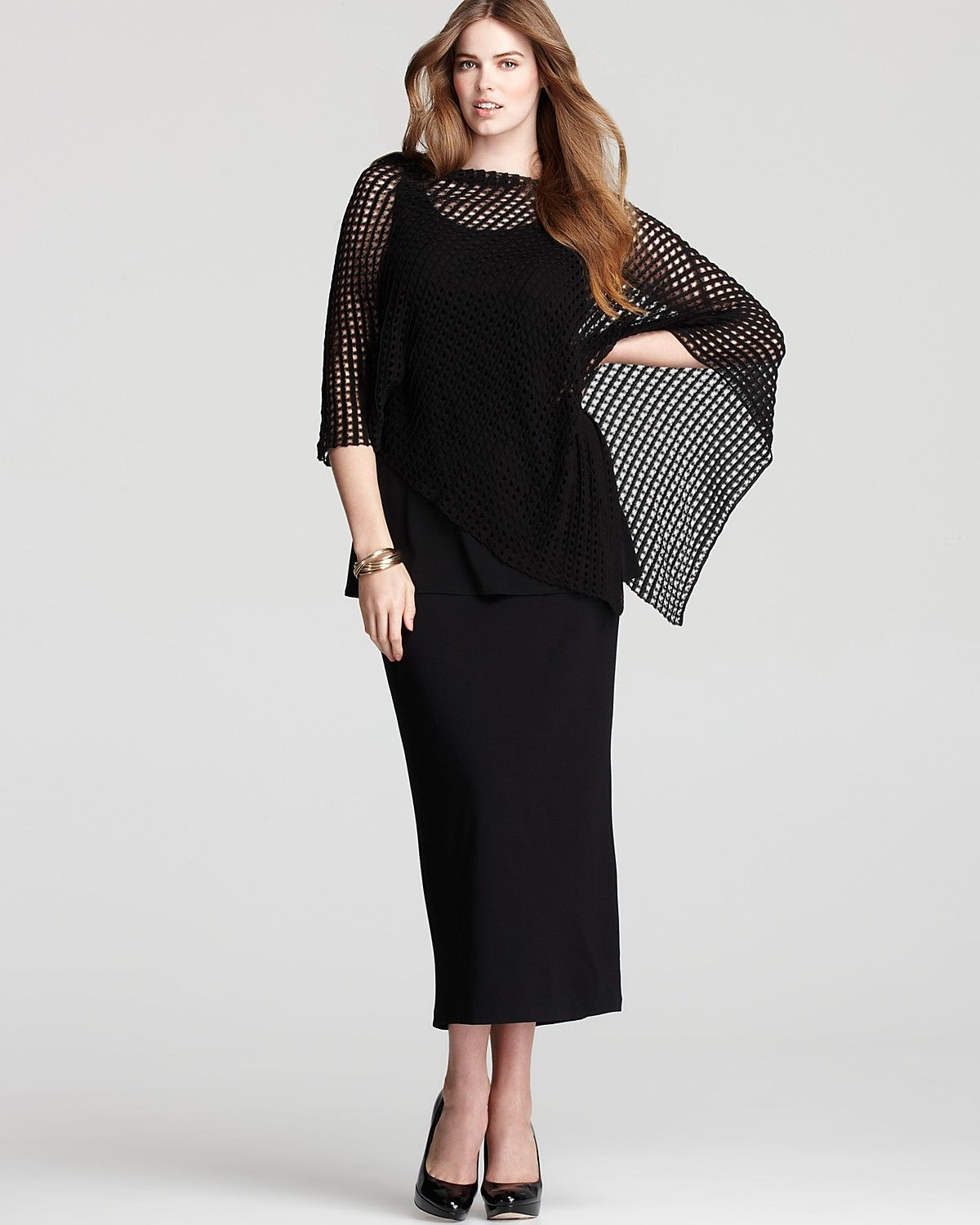 Eileen Fisher Plus Mesh Poncho Bloomingdale S Fabstyle