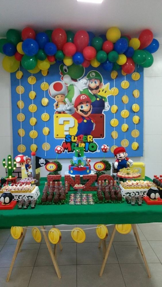 Decoracion De Fiesta De Mario Bros Baby Guía Para Su Decoración H Super Mario Bros Birthday Party Super Mario Birthday Party Mario Bros Birthday Party Ideas