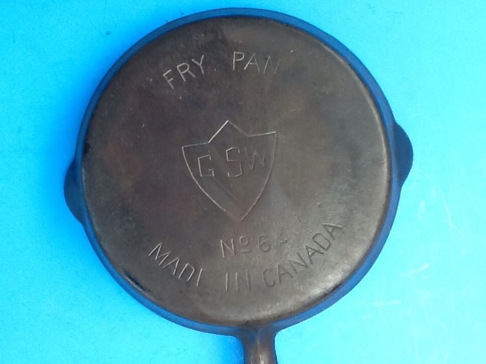 Vintage Cast Iron Gsw Fry Pan No 6 Made In Canada Griswold