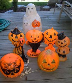 Vintage Lot Of Halloween Plastic Blow Mold Light Decorations Ghost And Pumpkins