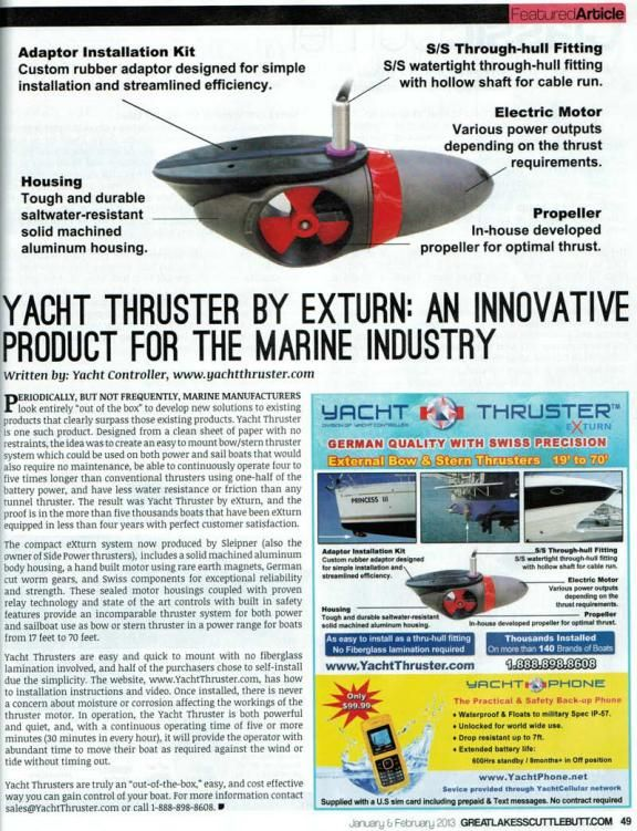 Yacht Thruster Featured In Great Lakes Scuttlebutt Powerboat Sailboat Bow And Stern Thrusters Press Www Yachtthruster Com Yacht Power Boats Hull