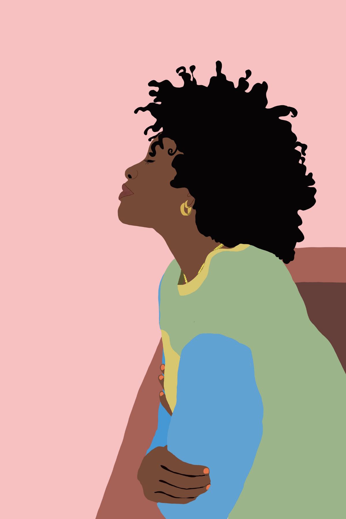 LWM Prints + Goods on Etsy #blackart #blackwomen #lewellnessmere #blackwomen #blacklove #flatillustration #fallillustration #womanillustration #blackillustrators #naturalhair #curls #pinkartwork
