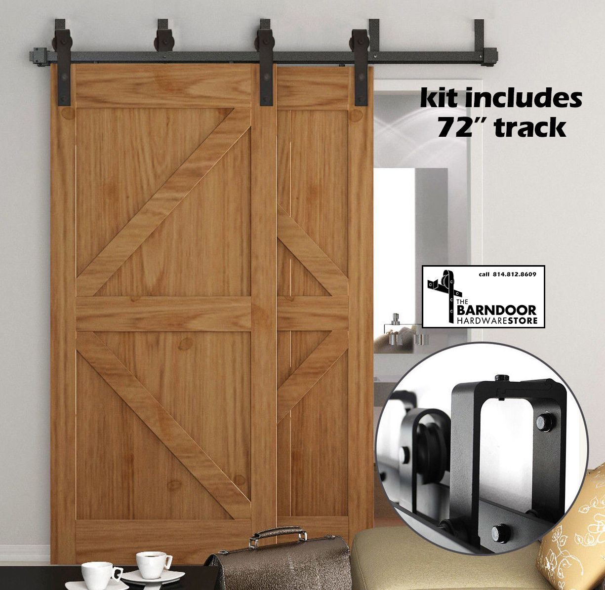 Double Track Bypass Sale Barn Door Hardware Kit For 2 Doors On 2 Tracks 22 Shipping Low Profile Brackets Barn Doors Sliding Interior Barn Doors Sliding Doors Interior