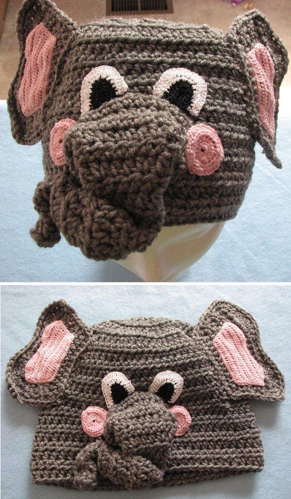 6802ce87c Elephant - Hat Crochet Pattern With Tutorials - Digital Download ...