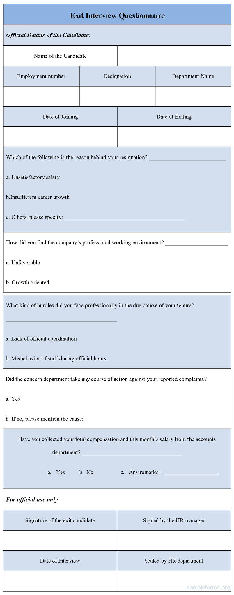 Exit Interview Questionnaire Form  Forms