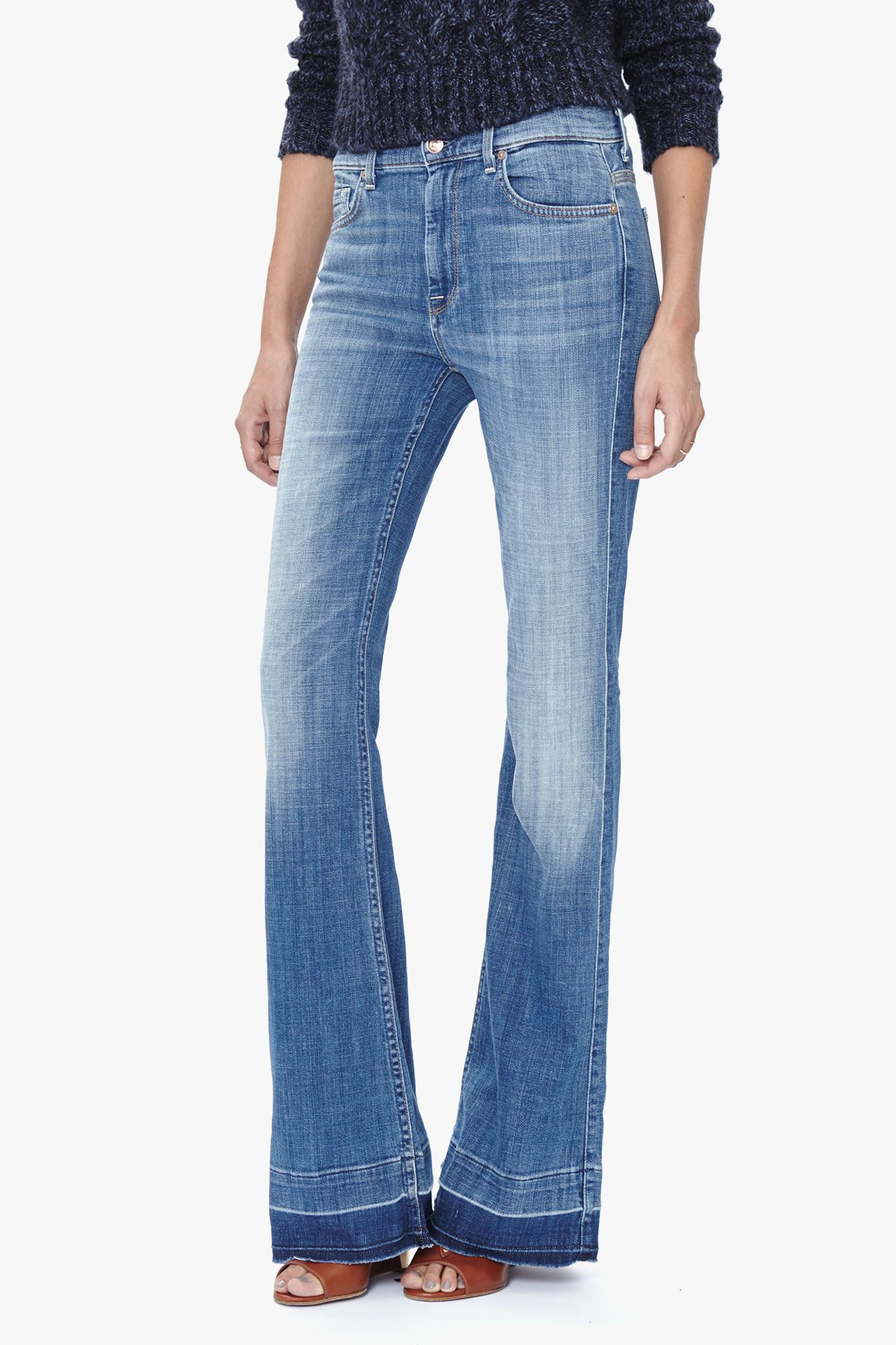 7 For All Mankind Ginger Flare Leg Trouser with Released Hem in Bright  Light Broken Twill