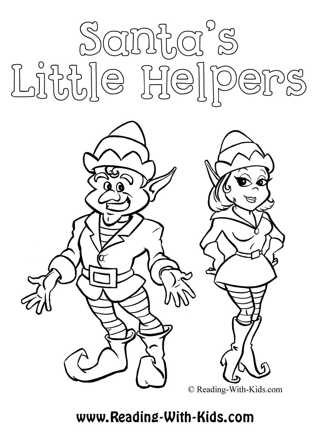 Santa S Little Helpers Elf Coloring Sheet Elves Christmas