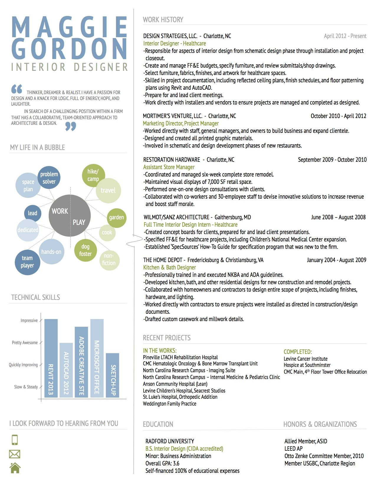 Interior Design Resume. I Like The My Life In A Bubble Section  Instructional Design Resume