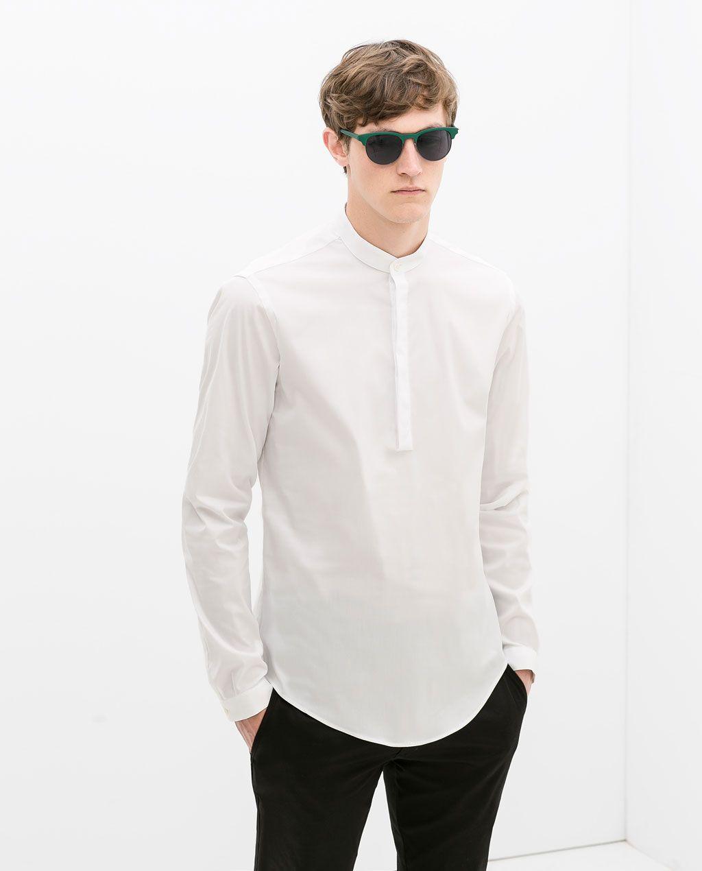 Image 1 De Chemise Col Mao De Zara Style Vetements Homme