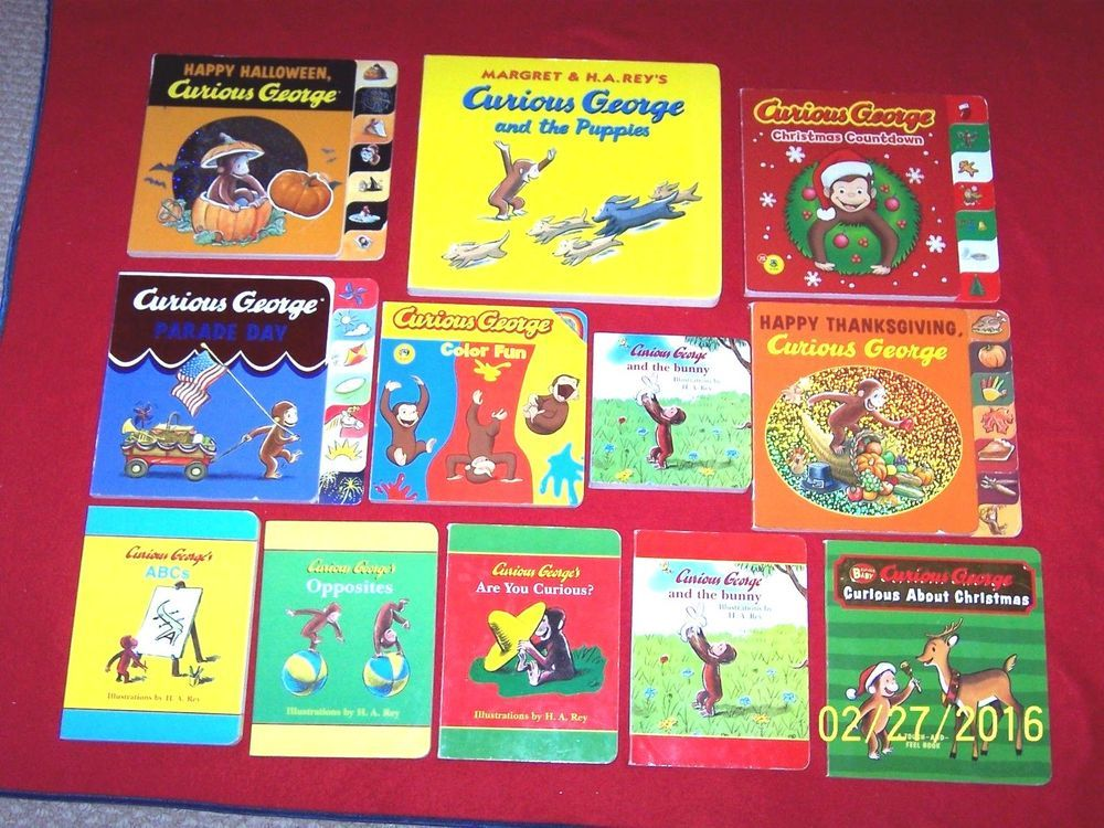 11 Preschool Curious George Board Books~H.A. Rey~Toddler~Monkey~Bunny~Parade Day