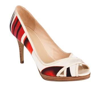 darling peep toes with a graphic red and black design