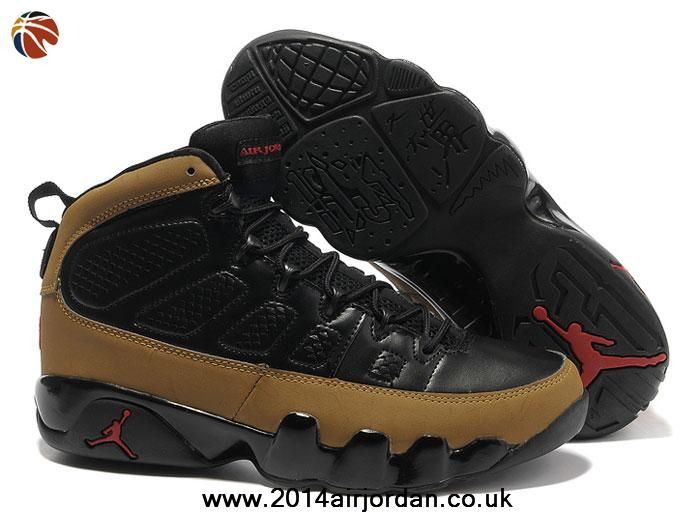 competitive price cfb61 8fe0b Authentic Air Jordan 9 (IX) Black/Light Olive-Varsity Red Olive ...