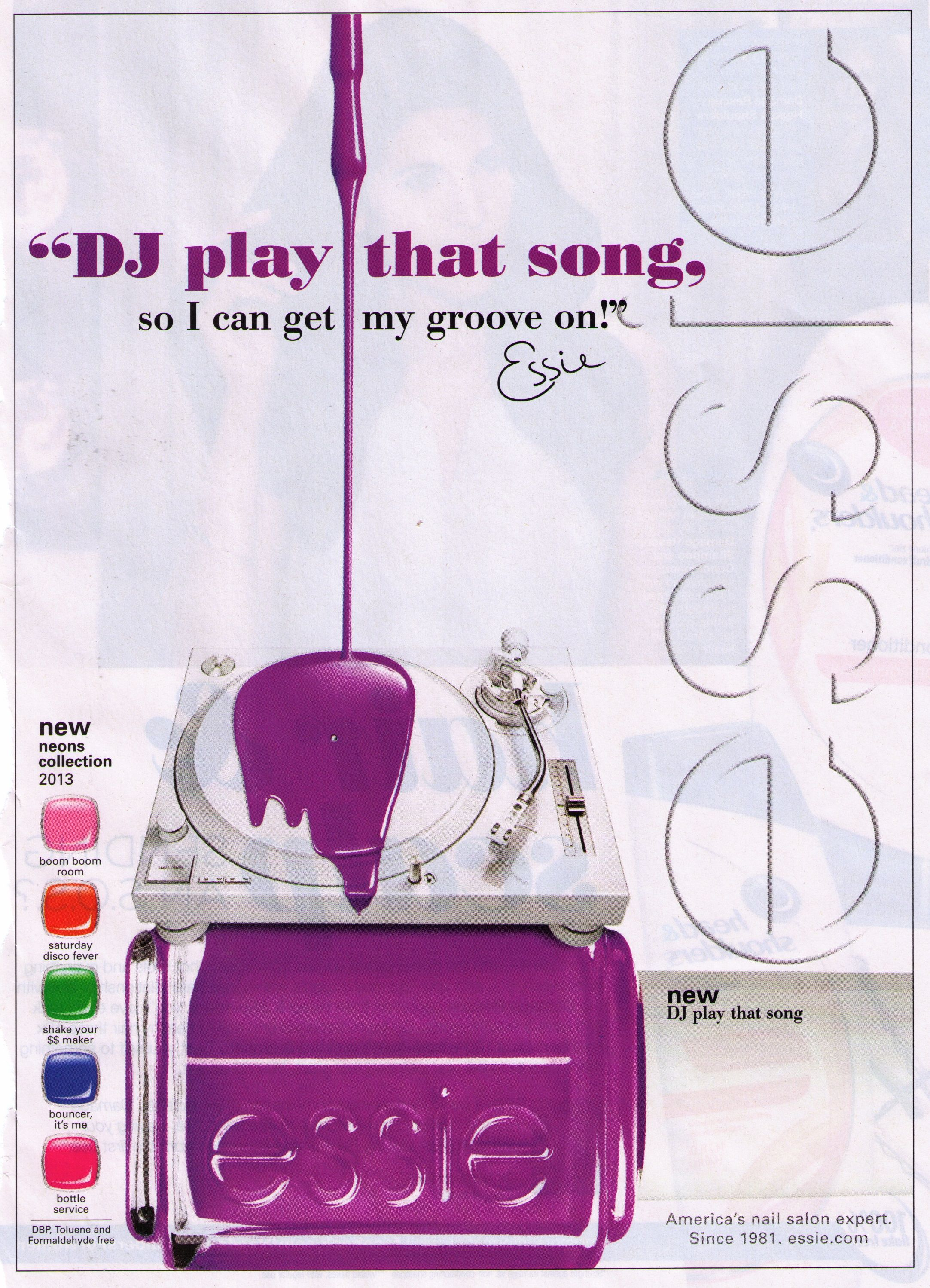 Essie Nail Polish Ad With Record Player