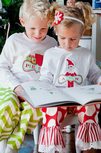 GreatStitch Elf 4 Kids Size Christmas Pajamas PJs Family Christmas